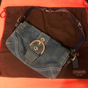 Coach Samantha Blue Suede Bag with Locket Keychain